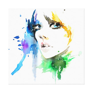 Abstract Watercolor colorful woman makeup branding Canvas Print