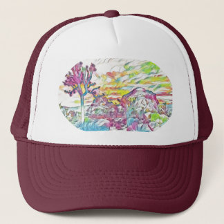Abstract watercolor desert trucker hat