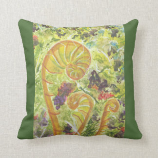 Abstract watercolor ferns cushion