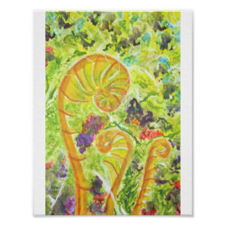 Abstract watercolor ferns poster