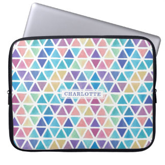 Abstract Watercolor Geometric (Coral Reef Tones) Laptop Sleeve