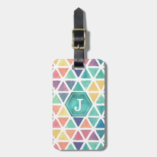 Abstract Watercolor Geometric (Jewel Tones) Luggage Tag