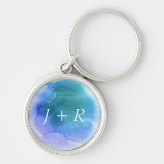 Abstract watercolor hand painted background 12 Silver-Colored round key ring
