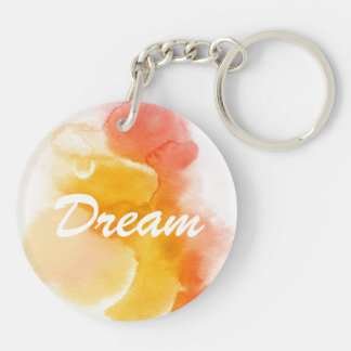 Abstract watercolor hand painted background 13 Double-Sided round acrylic key ring