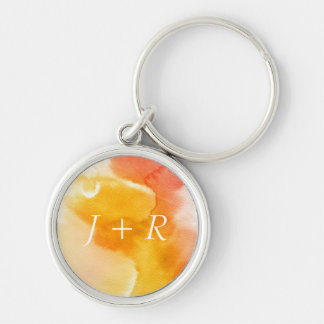 Abstract watercolor hand painted background 13 Silver-Colored round key ring