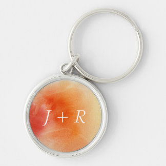 Abstract watercolor hand painted background 15 Silver-Colored round key ring