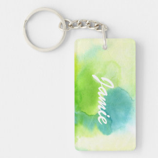 Abstract watercolor hand painted background 16 Double-Sided rectangular acrylic key ring