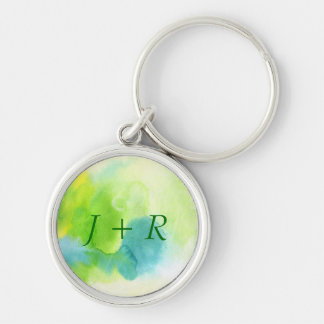 Abstract watercolor hand painted background 16 Silver-Colored round key ring