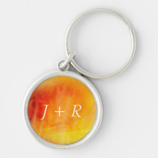Abstract watercolor hand painted background 19 Silver-Colored round key ring