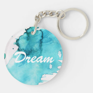 Abstract watercolor hand painted background 2 Double-Sided round acrylic key ring