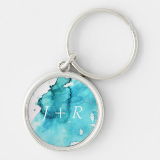Abstract watercolor hand painted background 2 Silver-Colored round key ring