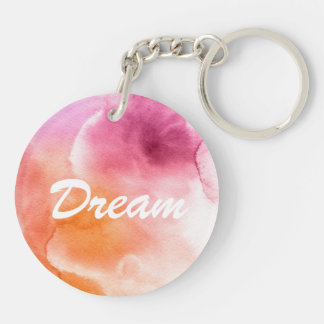 Abstract watercolor hand painted background 3 Double-Sided round acrylic keychain