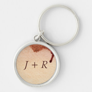 Abstract watercolor hand painted background 3 Silver-Colored round key ring