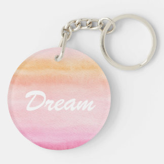 Abstract watercolor hand painted background 4 Double-Sided round acrylic key ring