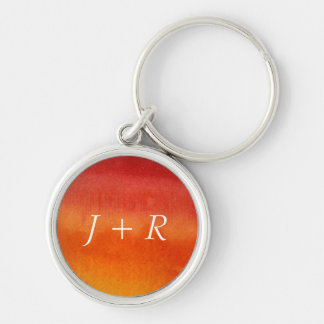 Abstract watercolor hand painted background 5 Silver-Colored round key ring