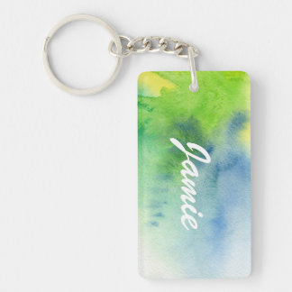 Abstract watercolor hand painted background 8 Double-Sided rectangular acrylic key ring