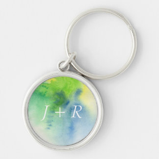 Abstract watercolor hand painted background 8 Silver-Colored round key ring