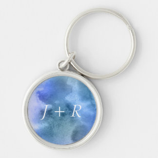 Abstract watercolor hand painted background 9 Silver-Colored round key ring