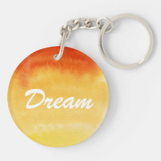 Abstract watercolor hand painted background. Double-Sided round acrylic key ring