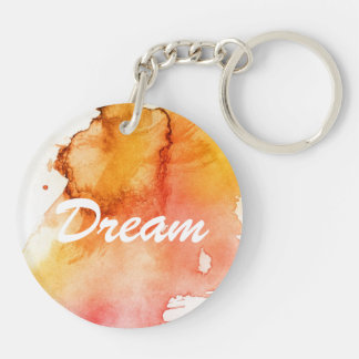 Abstract watercolor hand painted background Double-Sided round acrylic key ring