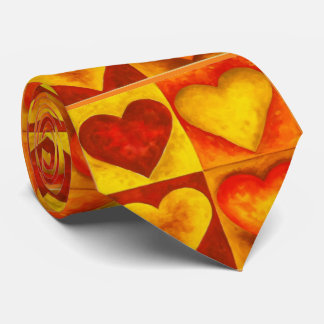 Abstract Watercolor Heart Red Hearts Love Tie