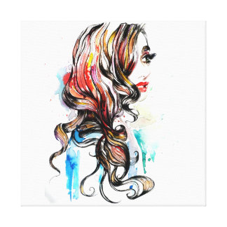 Abstract Watercolor ink colorful woman makeup Canvas Print