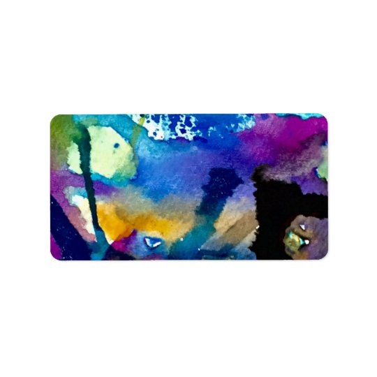 Abstract watercolor label address label