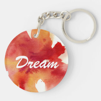 Abstract watercolor paintings Double-Sided round acrylic key ring