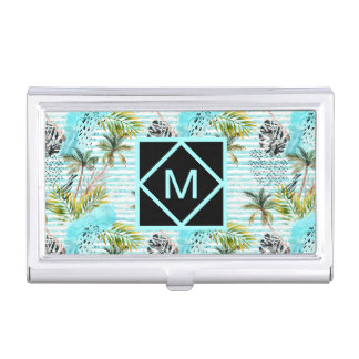 Abstract Watercolor Palm Tree Pattern Business Card Holder