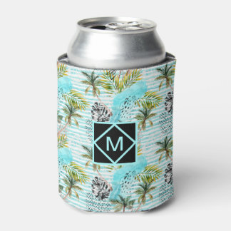 Abstract Watercolor Palm Tree Pattern Can Cooler