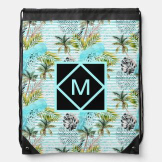 Abstract Watercolor Palm Tree Pattern Drawstring Bag