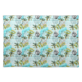Abstract Watercolor Palm Tree Pattern Placemat