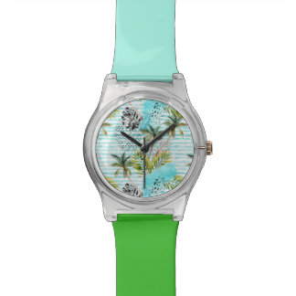 Abstract Watercolor Palm Tree Pattern Watch