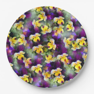 Abstract Watercolor Pansies Paper Plate