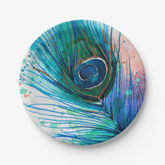 Abstract Watercolor Peacock Feather Paper Plate
