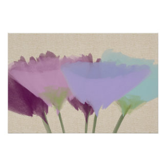 Abstract Watercolor Peony On Canvas Art Poster