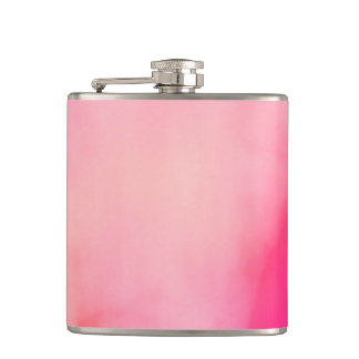 Abstract Watercolor Pink Coral Orange Colorful Hip Flask