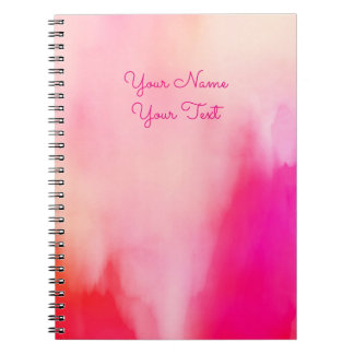 Abstract Watercolor Pink Coral Orange Colorful Notebooks