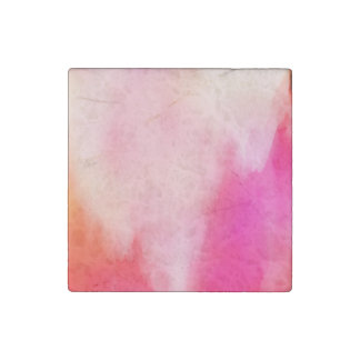 Abstract Watercolor Pink Coral Orange Colorful Stone Magnet