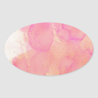 Abstract Watercolor Pink Orange Apricot Yellow Oval Sticker
