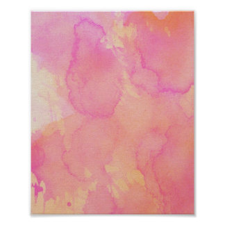 Abstract Watercolor Pink Orange Apricot Yellow Poster
