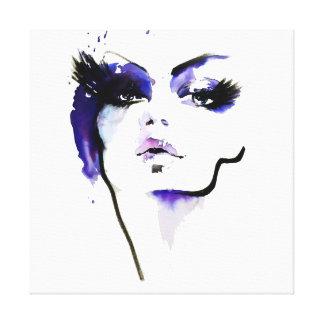 Abstract Watercolor purple woman makeup branding Canvas Print