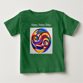 Abstract watercolor rainbow happy face t-shirt