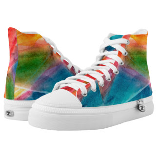 Abstract Watercolor Rainbow High Top Shoes Printed Shoes