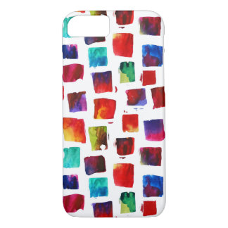 Abstract watercolor squares geometric pattern iPhone 7 case