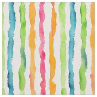 Abstract Watercolor Stripes Fabric