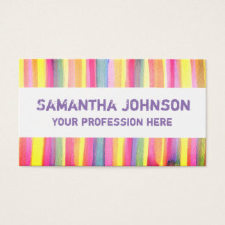 Abstract Watercolor Stripes Trendy Business Card