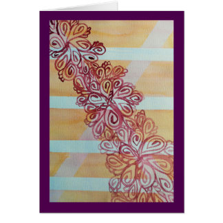 Abstract watercolor trellis and plant card