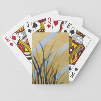 Abstract watercolor trellis with grasses playing cards