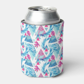 Abstract Watercolor Tropical Leaf Pattern Can Cooler